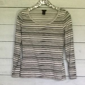 Ann Taylor Medium Black off white striped shirt